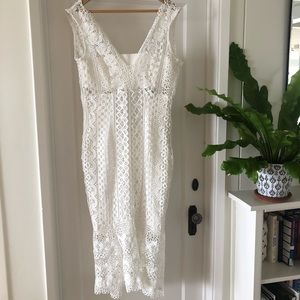 Bardot White Lace Dress With Cut Out Detail